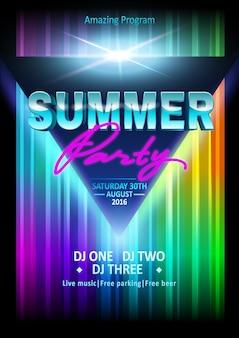 Fiesta de verano de dj, cartel de espectáculo de club nocturno. plantilla de póster. folleto de fiesta de playa de verano