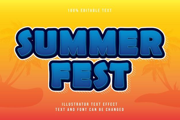 Fiesta de verano, efecto de texto editable 3d gradación azul estilo moderno sombra