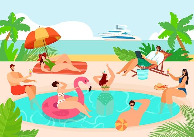 Fiesta de verano en la piscina cerca del agua de la playa