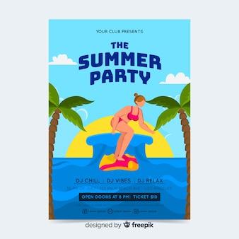 Fiesta de verano, plantilla de poster o flyer lista para imprimir