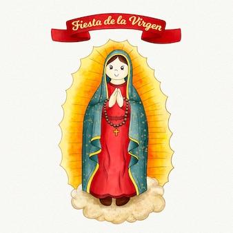 Fiesta de la virgen acuarela