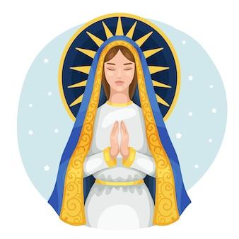 Fiesta de la virgen dibujada a mano