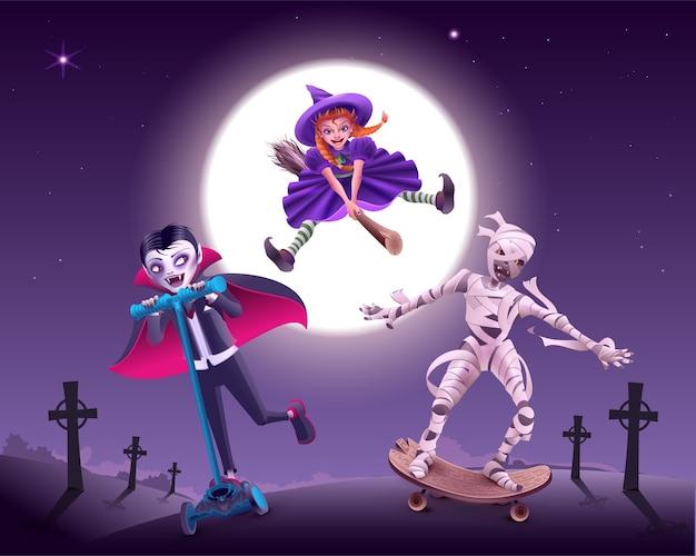 Fiesta de zombies de halloween. vampiro, bruja y momia se apresuran a disfrazarse. ilustración de dibujos animados