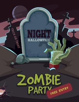 Fiesta de zombis. brazo del hombre muerto dentro del suelo frente a la tumba.
