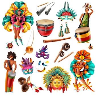Fiestas de carnaval brasileñas elementos coloridos realistas establecidos con instrumentos musicales tradicionales máscaras plumas trajes aislados ilustración vectorial