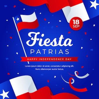 Fiestas patrias de chile con banderas y confeti