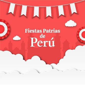 Fiestas patrias de peru ilustración en estilo papel