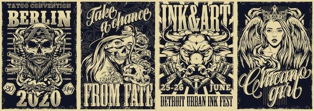 Fiestas de tatuajes y carteles vintage de estilo chicano