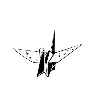 Figura artesanal de origami de grúa de papel dibujo a tinta con estrellas dibujadas a mano cielo diseño de tatuaje monocromo