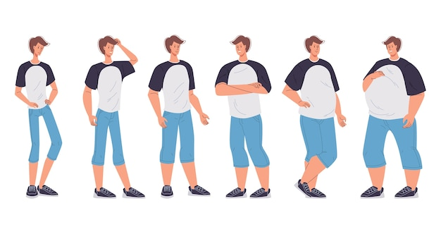 La figura del cuerpo del personaje masculino cambia de bajo peso delgado a sobredimensionado extremadamente obeso mórbido.