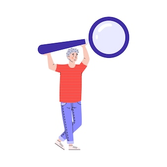 Figura de hombre usando una lupa de dibujos animados aislado