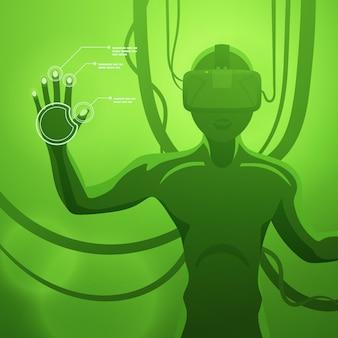 Figura masculina futurista en el auricular vr