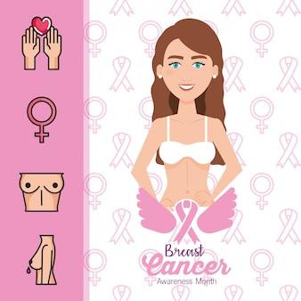 Figura de mujer con cáncer de mama