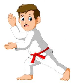 Figura en la postura de lucha de karate