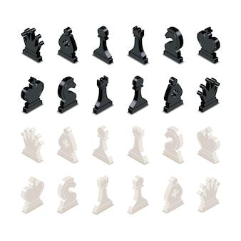 Figuras de ajedrez en blanco y negro en vista isométrica