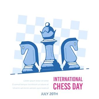 Figuras de ajedrez contra tablero de ajedrez aislado en blanco, banner del día internacional del ajedrez