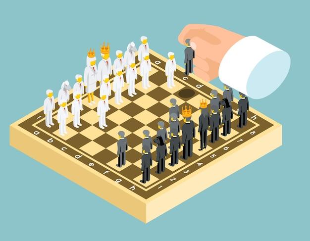 Figuras de ajedrez de negocios en vista isométrica.