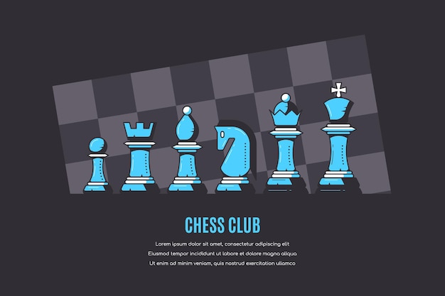 Figuras de ajedrez y patrón de tablero de ajedrez en blackl, banner del club de ajedrez