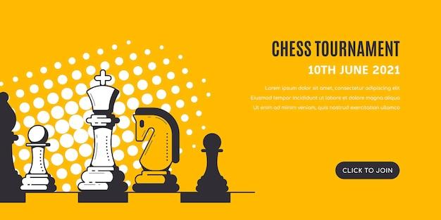 Figuras de ajedrez sobre fondo amarillo con patrón de semitonos. plantilla de banner de torneo de ajedrez