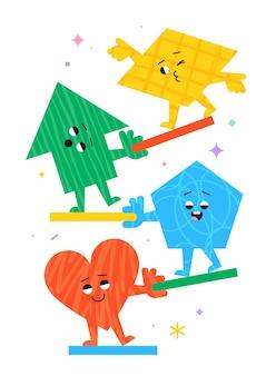 Figuras geométricas de dibujos animados lindo con diferentes emociones de cara corazón flecha pentágono y paralelogramo f