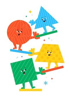 Figuras geométricas de dibujos animados lindo con diferentes emociones faciales idea divertida del cartel para los niños