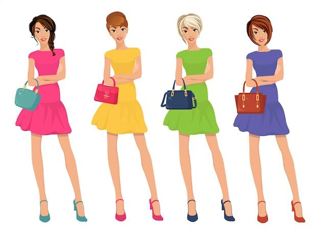 Figuras modernas y atractivas de young shopping girls con venta de bolsos de moda.