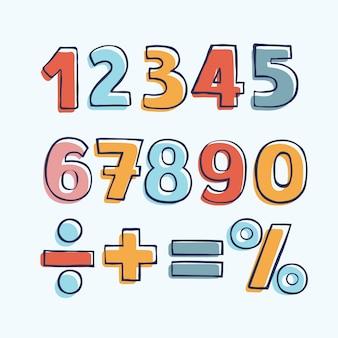 Figuras de niños de dibujos animados. conjunto de números de color