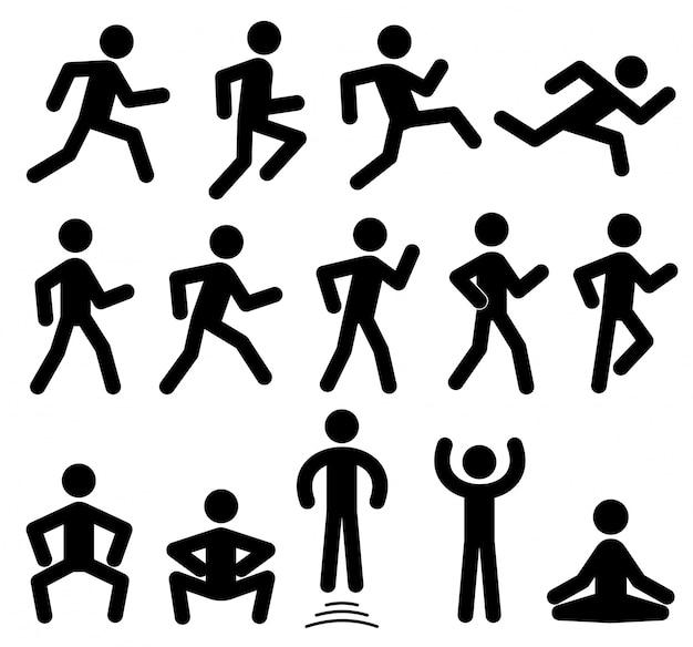 Figuras de personas en movimiento.