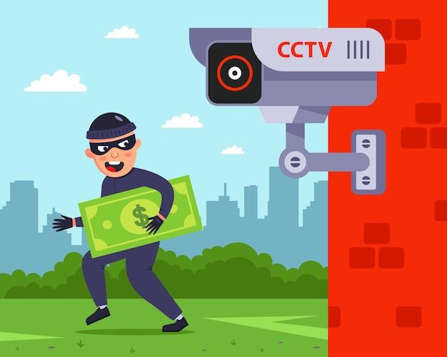 Fijación a una cámara de vigilancia exterior. el criminal roba a la gente.