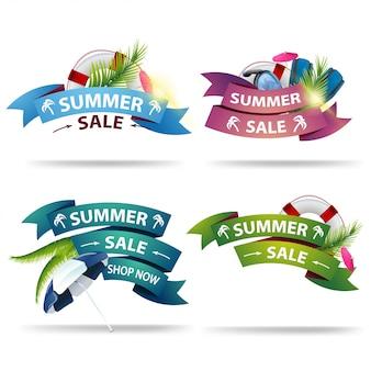Fije el banner de descuento de verano en forma de cintas para su creatividad.