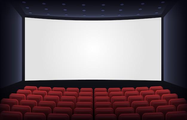 Fila con asientos para ver películas para espectadores o audiencia.