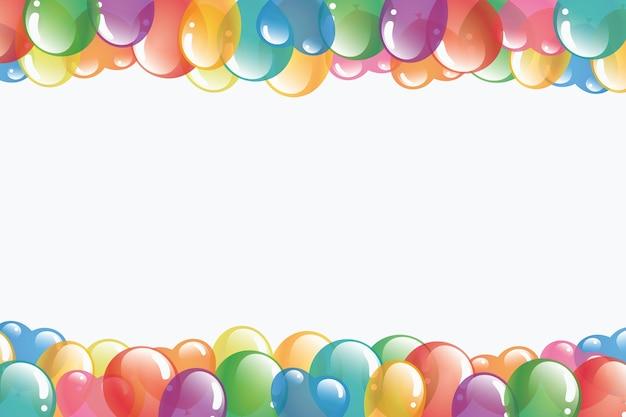 Fila de globos para la frontera sobre fondo blanco con espacio para texto