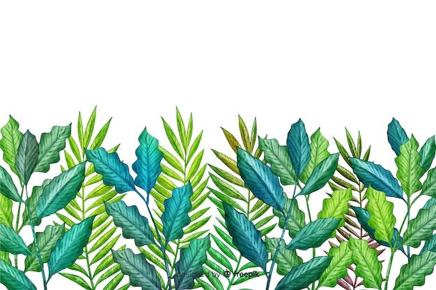 Fila hojas verdes dibujadas a mano