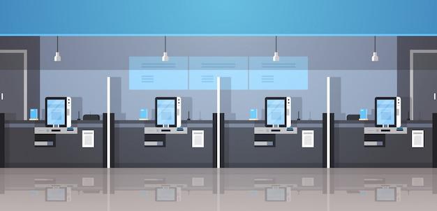 Fila de máquinas de autoservicio terminal de pago