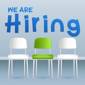 Fila de sillas con una extraña. oportunidad de trabajo. concepto de reclutamiento