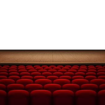 Filas de cine rojo o asientos de teatro aislados sobre fondo blanco.