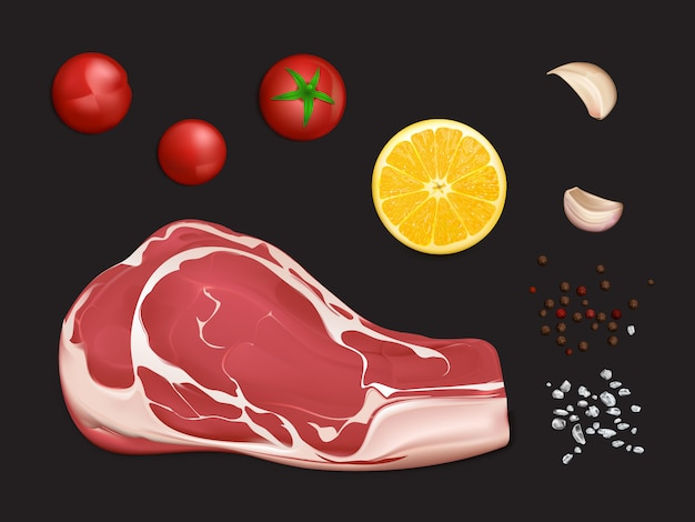 Filete de carne cruda de mármol, porción para cocinar bistec o parrilla con especias y verduras
