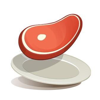 Filete crudo en el vector de plato