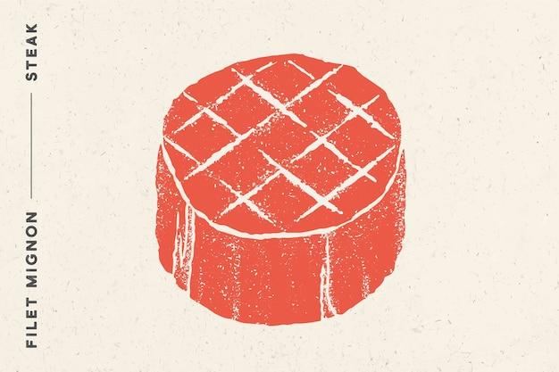 Filete, filet mignon. póster con silueta de bistec, texto filet mignon, filete