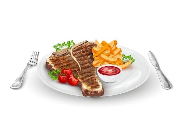 Filete a la parrilla en el plato