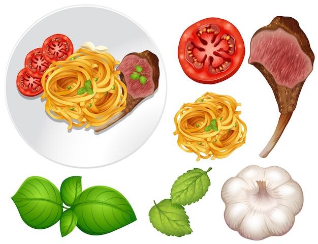 Filete y pasta en el plato