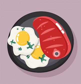 Filete de res y huevos fritos
