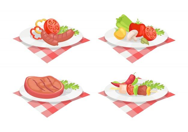 Filete de ternera y salchichas en placa ilustración vectorial