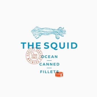 Filetes enlatados de calamar al mar. signo abstracto, símbolo o plantilla de logotipo.