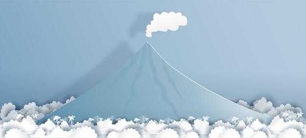Filipinas mayon volcano en el ejemplo del vector del estilo del corte del papel.