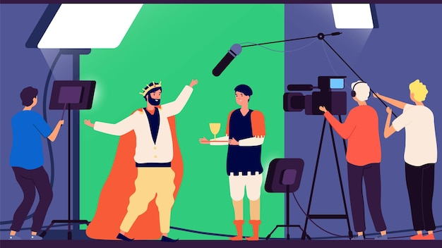 Filmación de películas. producción cinematográfica, director y operador de cine. realización de programas de televisión, actores de casting ilustración vectorial. producción cinematográfica de la industria cinematográfica
