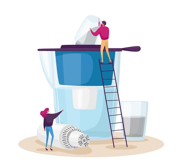 Filtración doméstica de agua, concepto de purificación