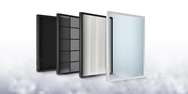 Filtro de aire multicapa aumenta la eficiencia de la purificación del aire para ser más limpio, capa de carbono, filtro de polvo, filtro de gérmenes, fibra.
