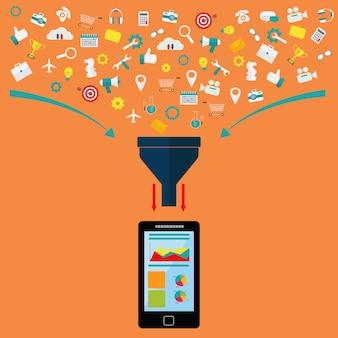 Filtro de datos, análisis de datos en el concepto de vector de dispositivo móvil