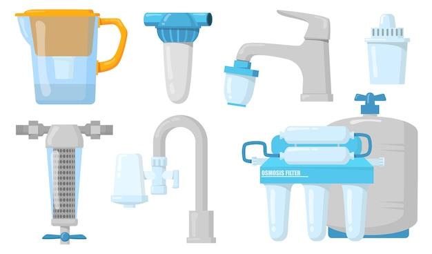 Filtros de agua domésticos planos para diseño web. jarras y grifos de dibujos animados con sistema de filtración aislado colección de ilustraciones vectoriales. concepto de purificación y bebida limpia